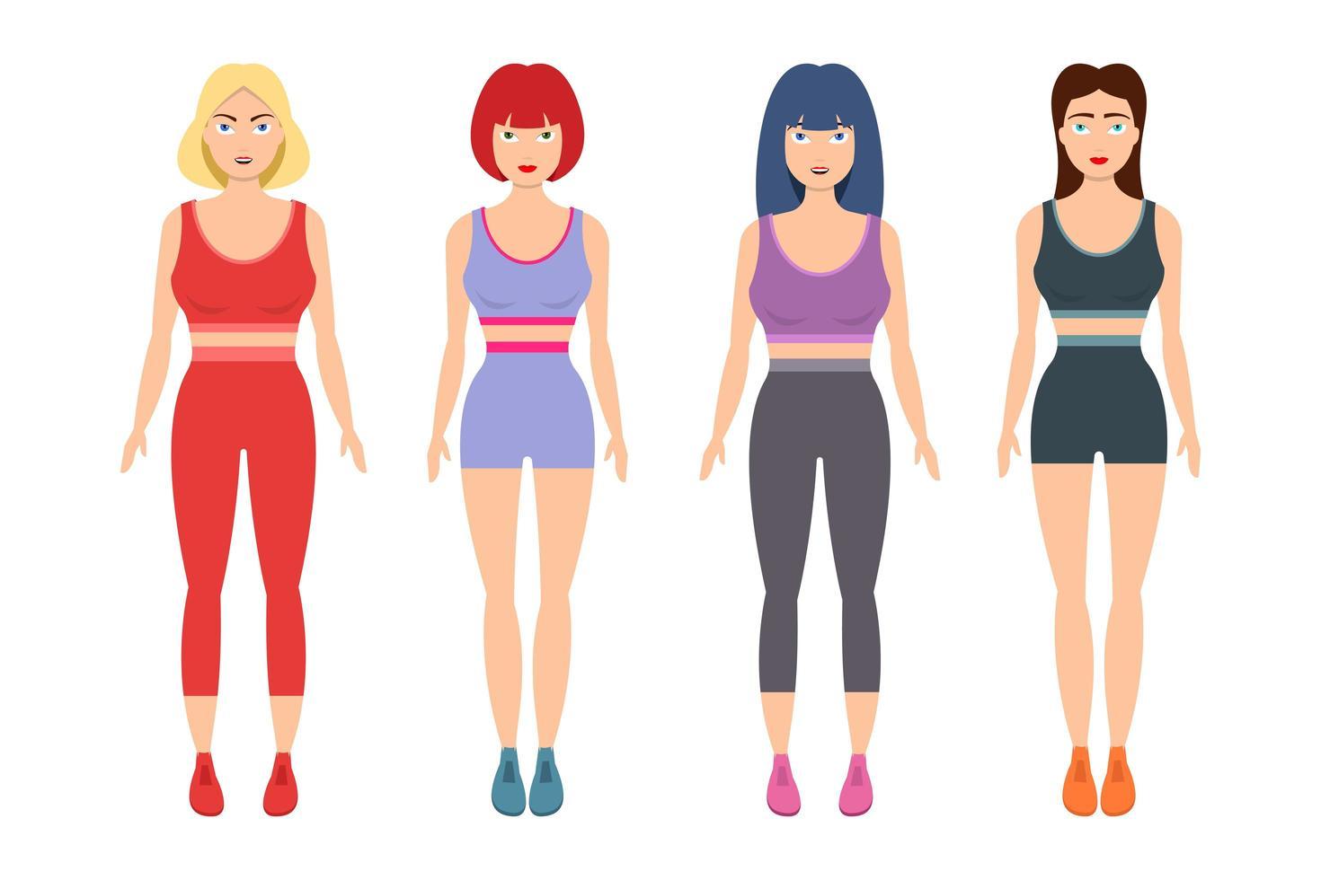 sportiga kvinnor vektor design illustration isolerad på vit bakgrund