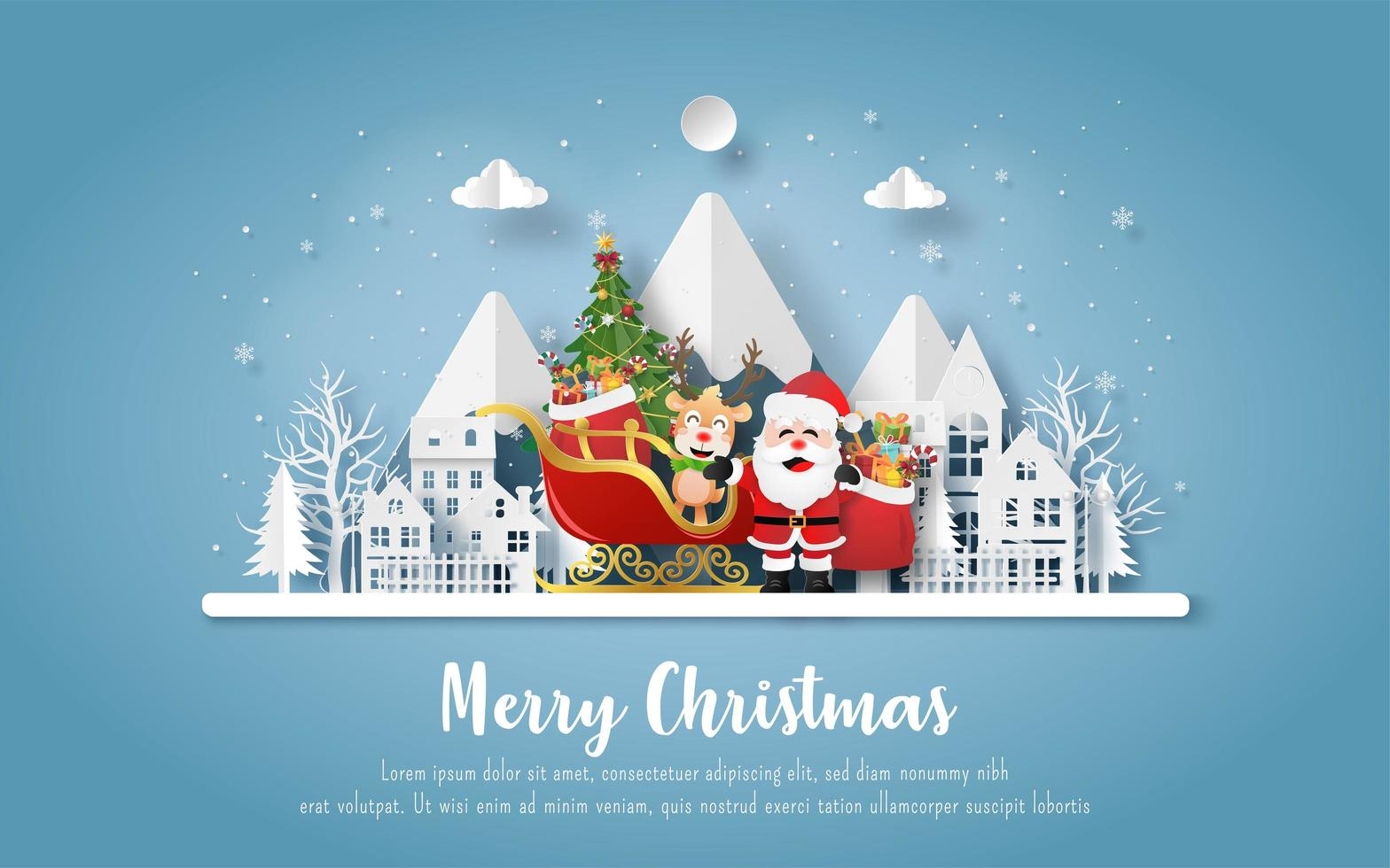 julvykort med jultomten och renar vektor