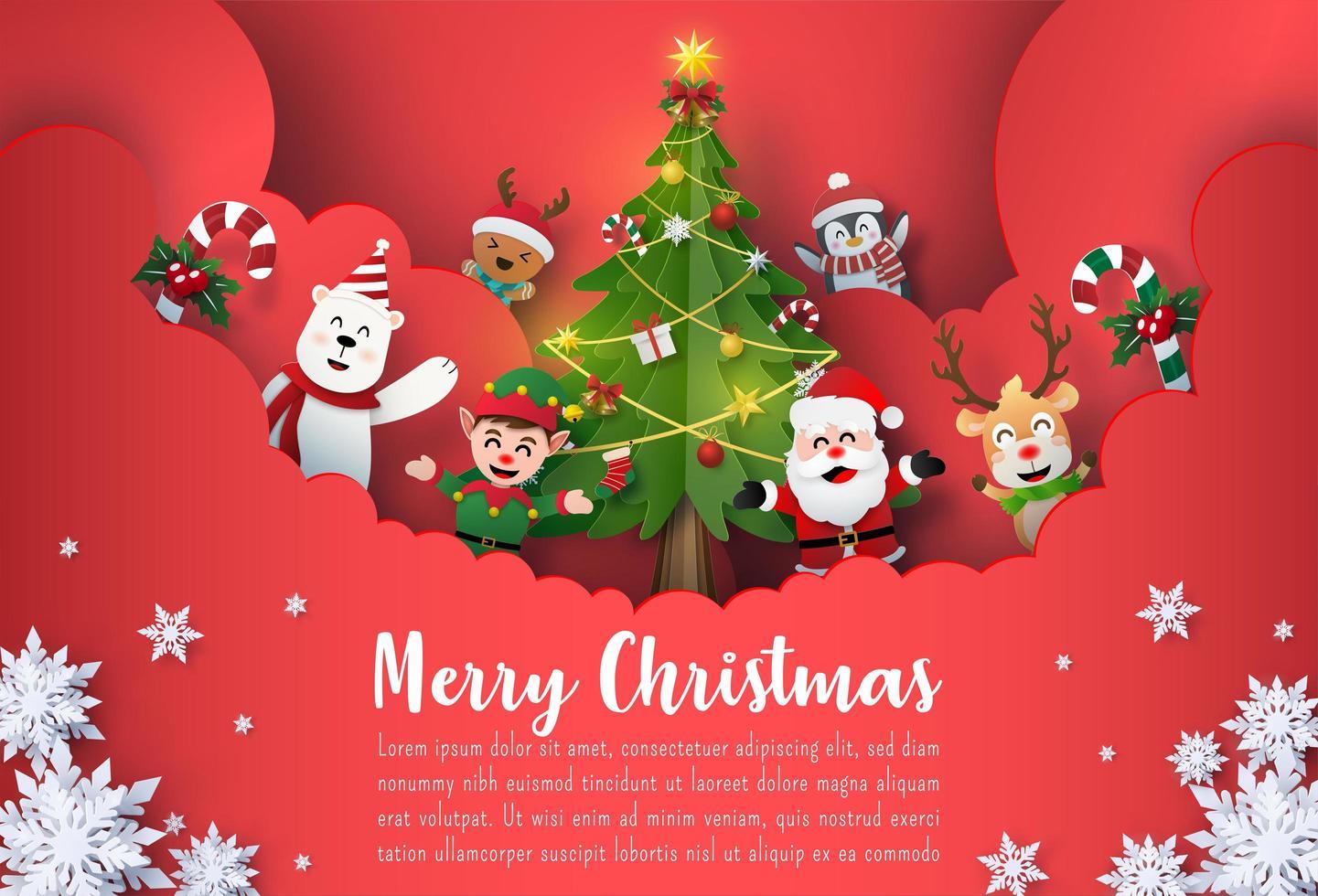 Origami Papierkunst Weihnachten Postkarte Banner von Santa Claus und niedlichen Comicfiguren vektor