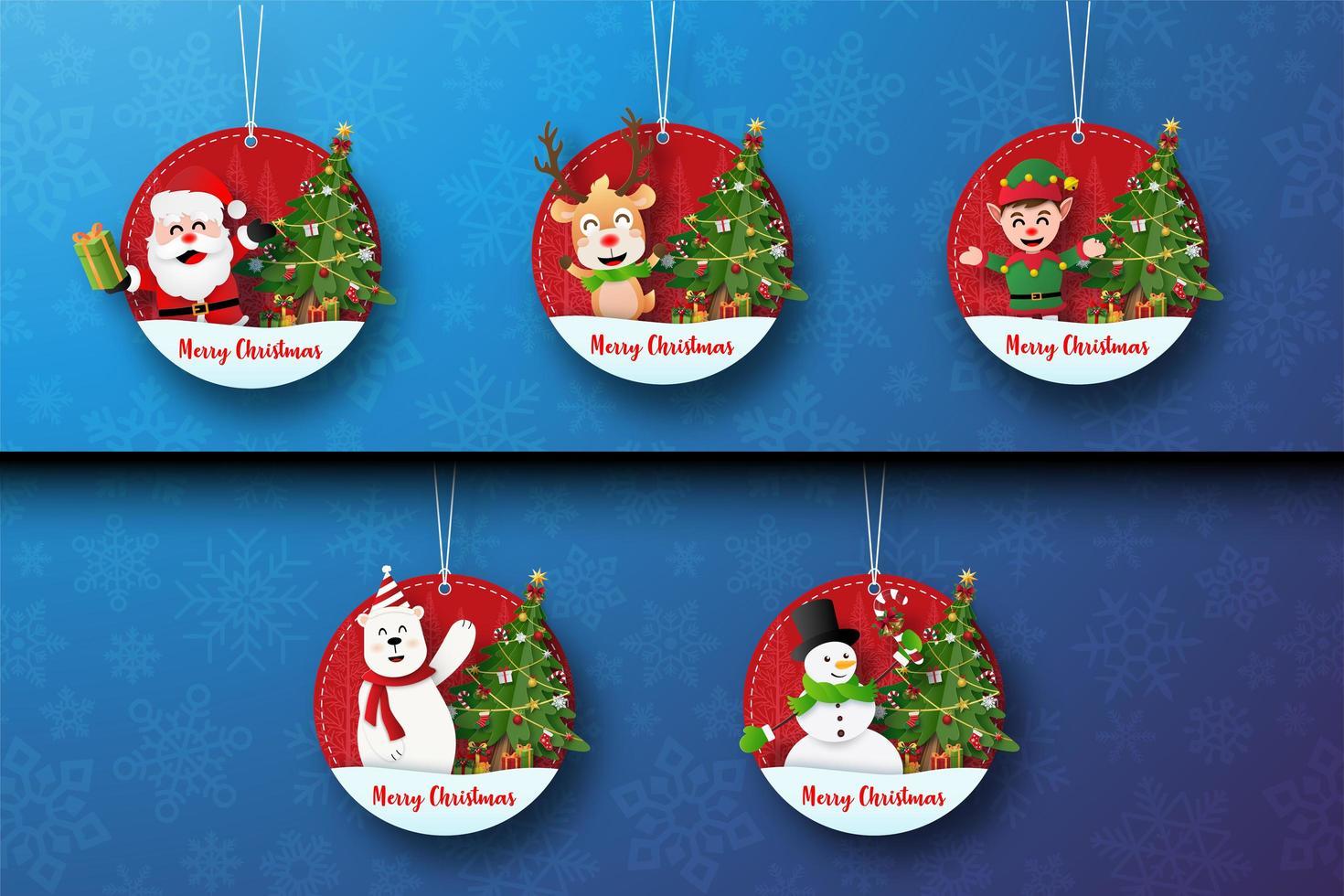 Satz Weihnachtsanhänger mit niedlichen Weihnachtsfiguren vektor