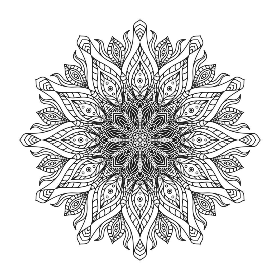handdrag cirkulär mandala, solmandala. dekorativ prydnad i etnisk orientalisk stil. sida för målarbok. vektor