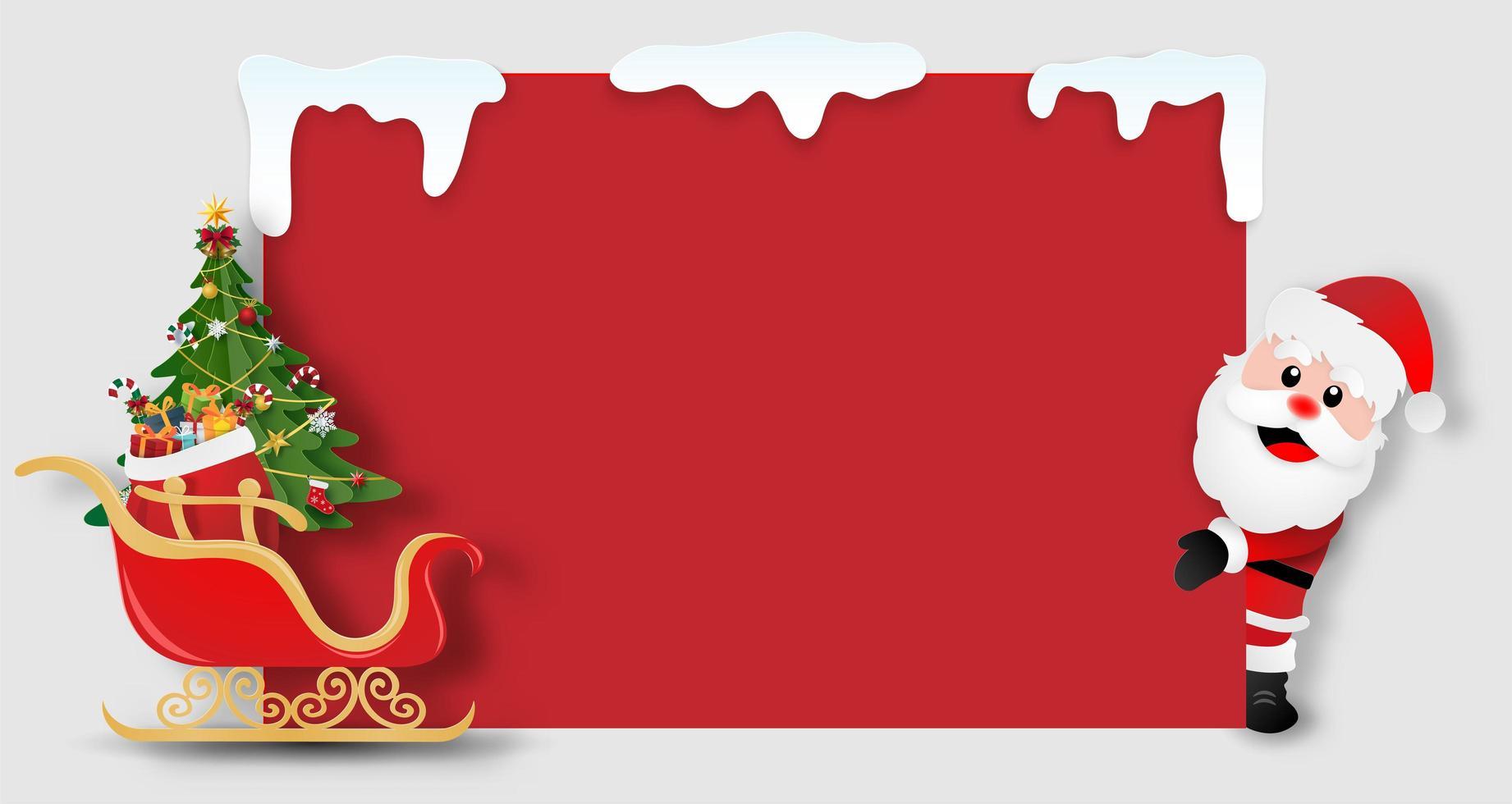 Weihnachtsmann hält eine leere Weihnachtskarte vektor