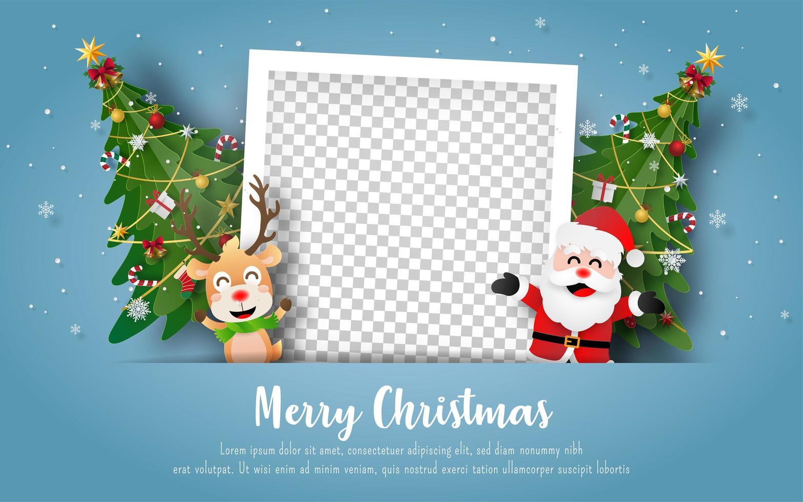 Weihnachtspostkarte mit Weihnachtsmann, Rentier und leerem Fotorahmen vektor