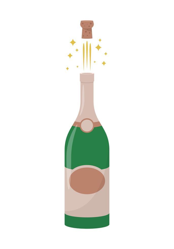 Champagnerflaschen-Vektorentwurfsillustration lokalisiert auf weißem Hintergrund vektor