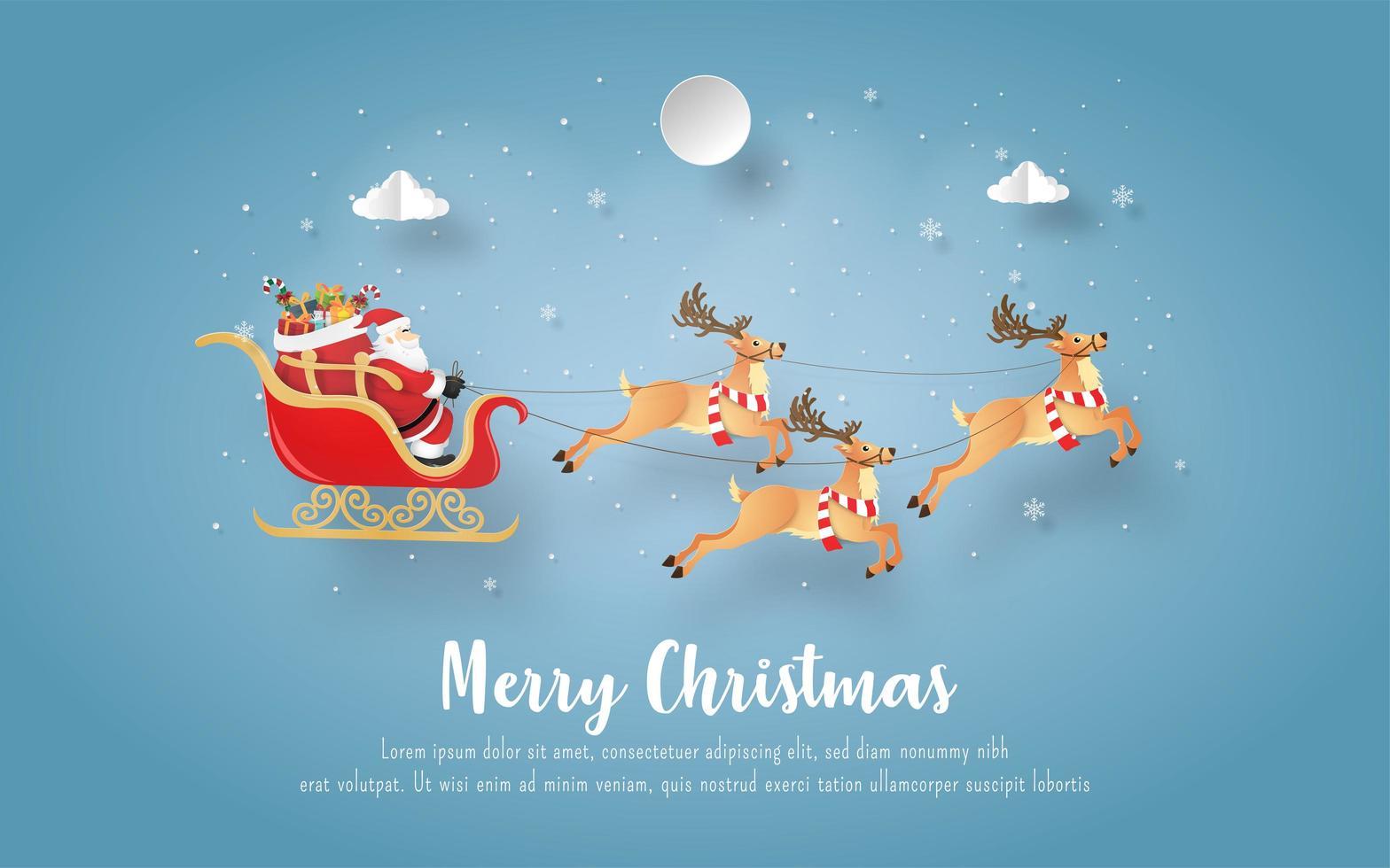 Weihnachtspostkarte mit Weihnachtsmann und Rentier vektor