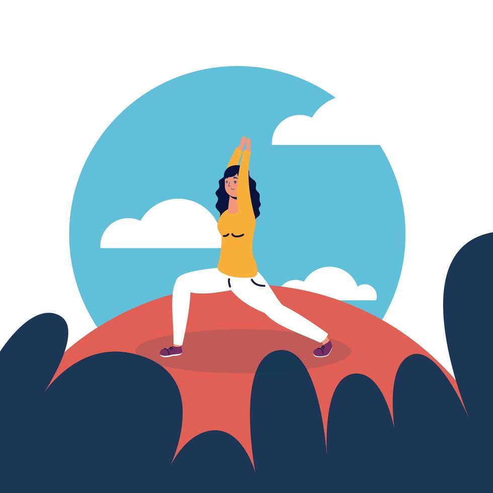Frau, die Yoga am Parkvektordesign tut vektor