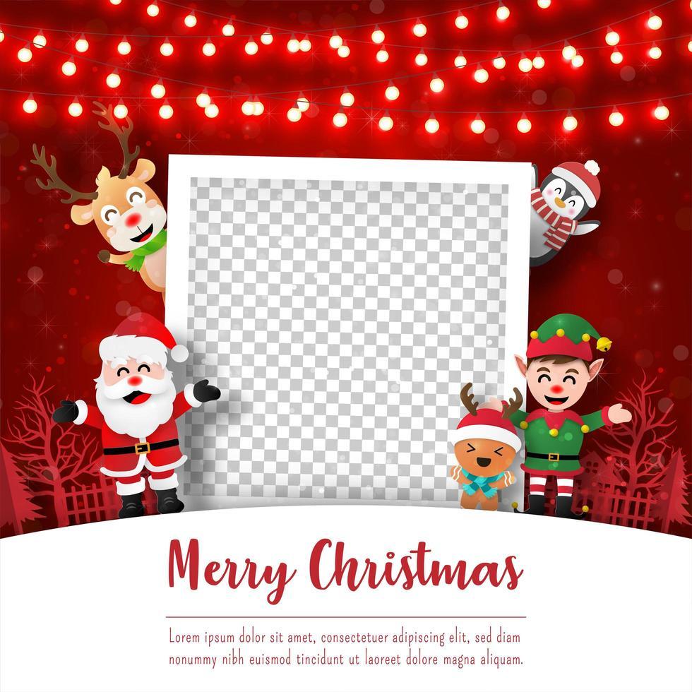 Frohe Weihnachten und ein gutes neues Jahr, Weihnachtspostkarte des Fotorahmens mit Weihnachtsmann und Freunden, Papierkunststil vektor