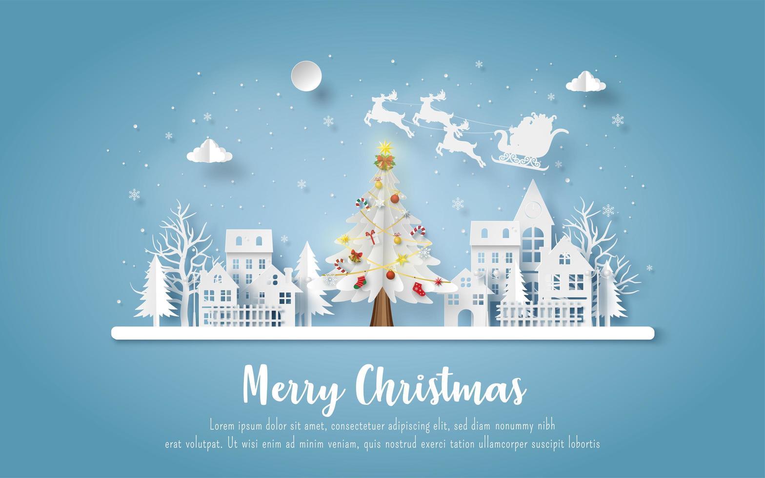 julvykort med jultomten och renar som kommer till stan vektor