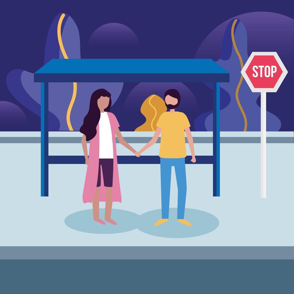 kvinna och man vid busshållplatsvektordesign vektor