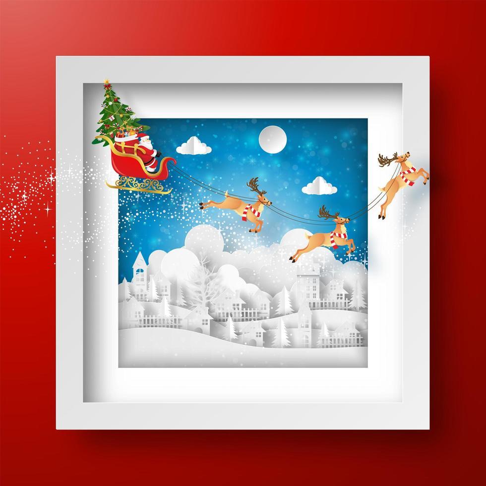 jul ram med jultomten och renar vektor