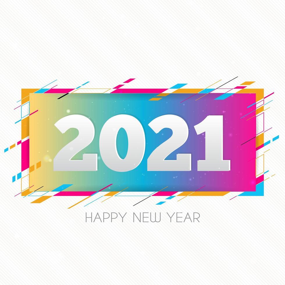 kreative glückliche neue Jahr 2021 Designkarte auf modernem Hintergrund vektor