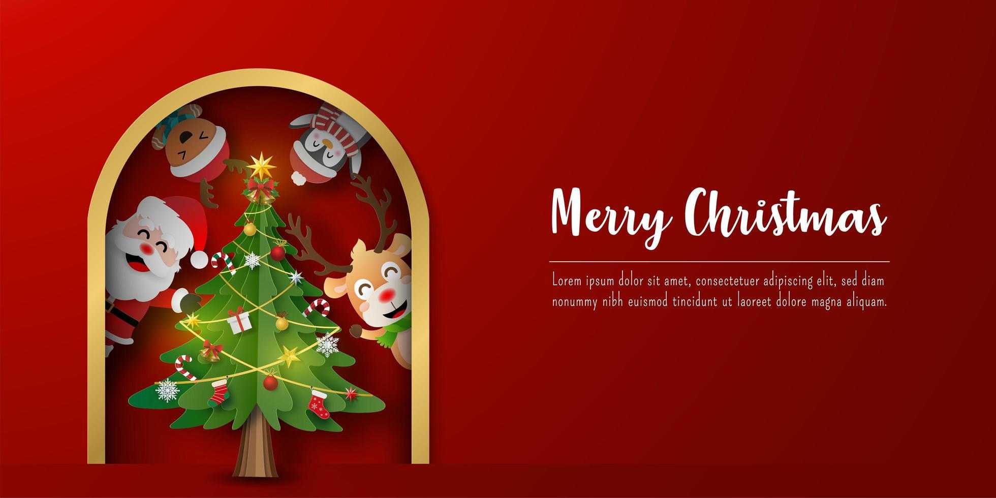 jul vykort banner av jultomten och vänner med julgran vektor