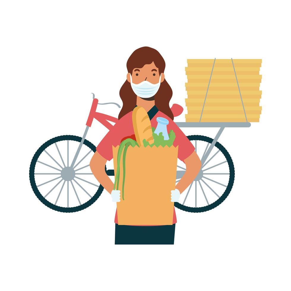 leverans kvinna med mask cykel väska och lådor vektor design