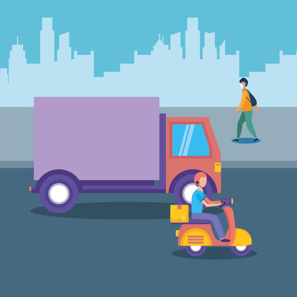 Lieferwagenmotorrad und Mann mit Maske am Stadtvektordesign vektor