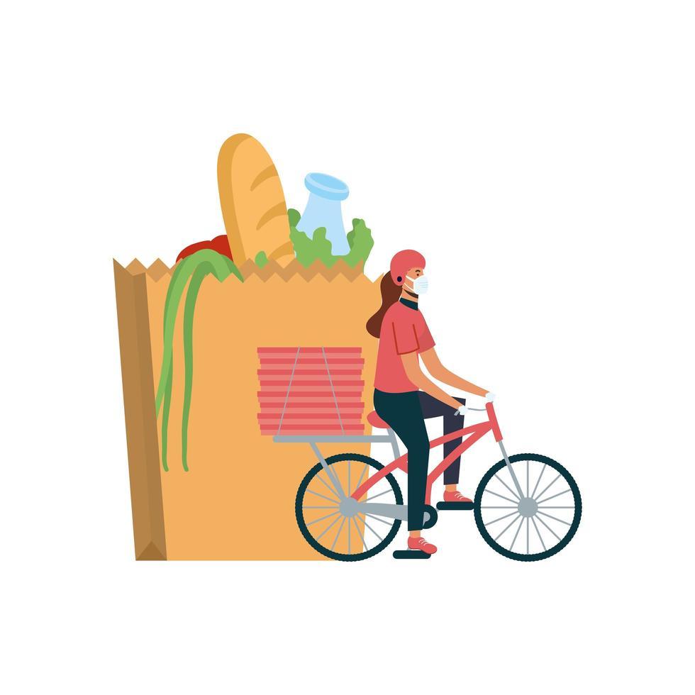 Lieferfrau mit Maske Fahrradtasche und Boxen Vektor-Design vektor