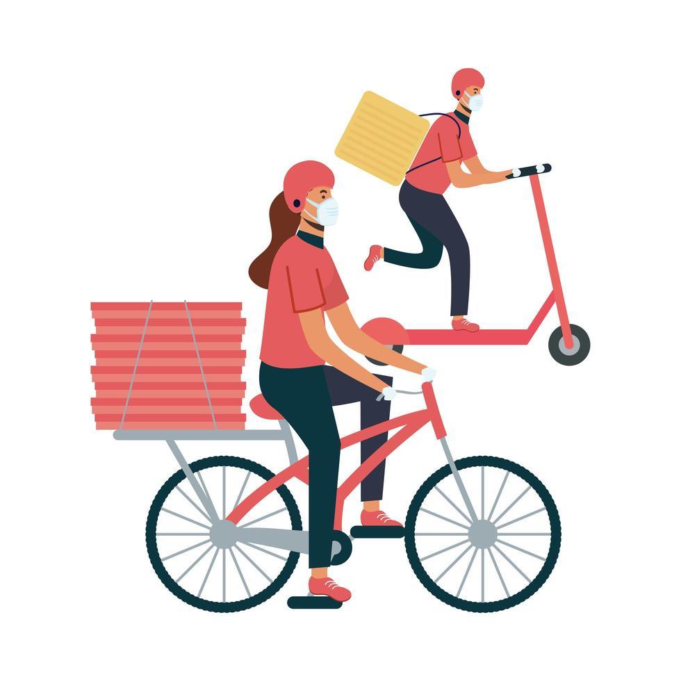 Lieferung Frau und Mann mit Masken Fahrrad und Roller Vektor-Design vektor