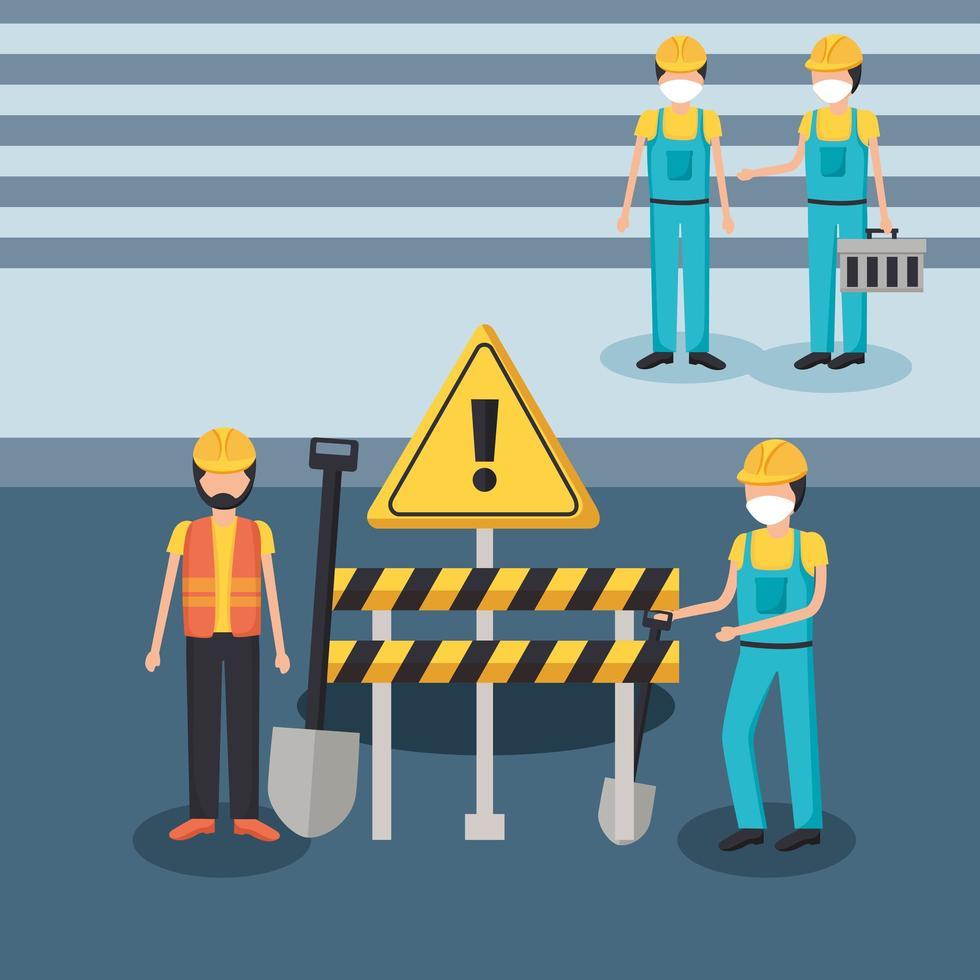 Baumeister Männer mit Masken und Barriere Vektor Design