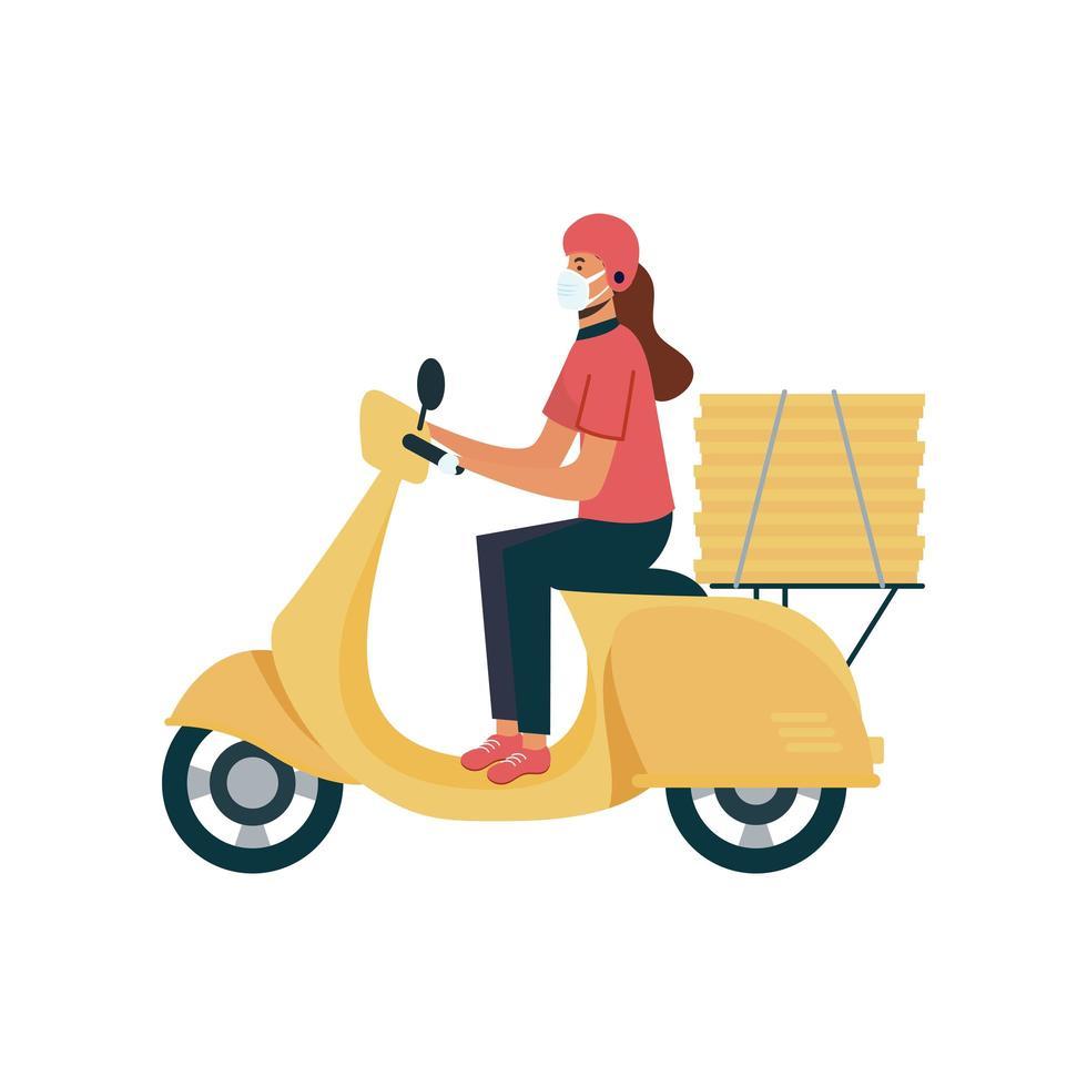 Lieferfrau mit Maske Motorrad und Boxen Vektor-Design vektor