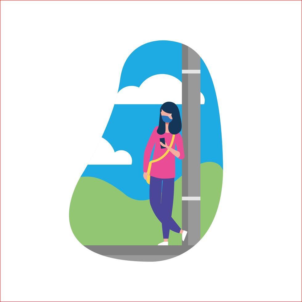 Frau mit medizinischer Maske am Laternenpfahlvektorentwurf vektor