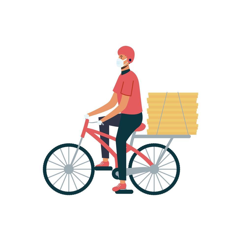 leverans man med mask cykel och lådor vektor design