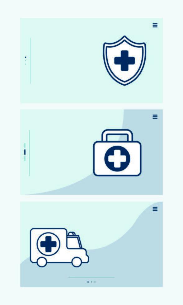 bunt med medicinska uppsättning ikoner vektor