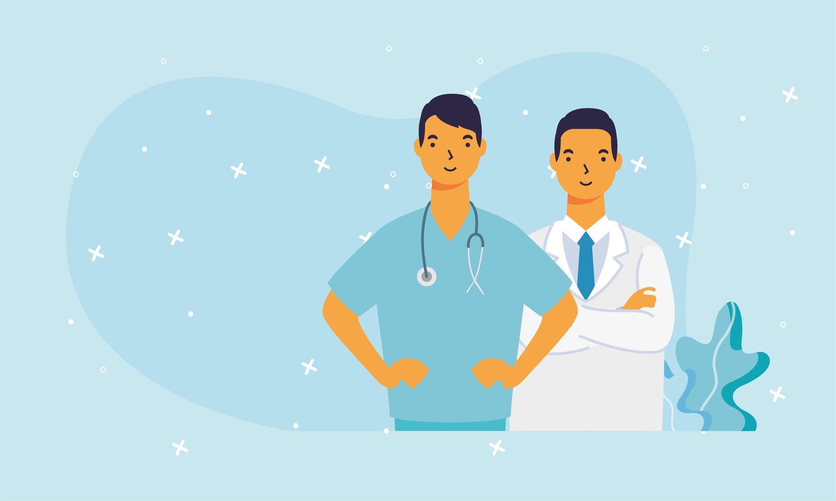 männliche Ärzte mit Uniformen Vektordesign vektor