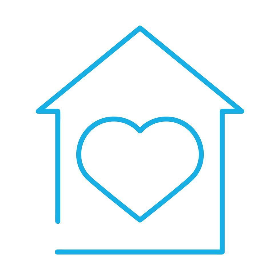 husfasad med hjärta stanna hemma vektor