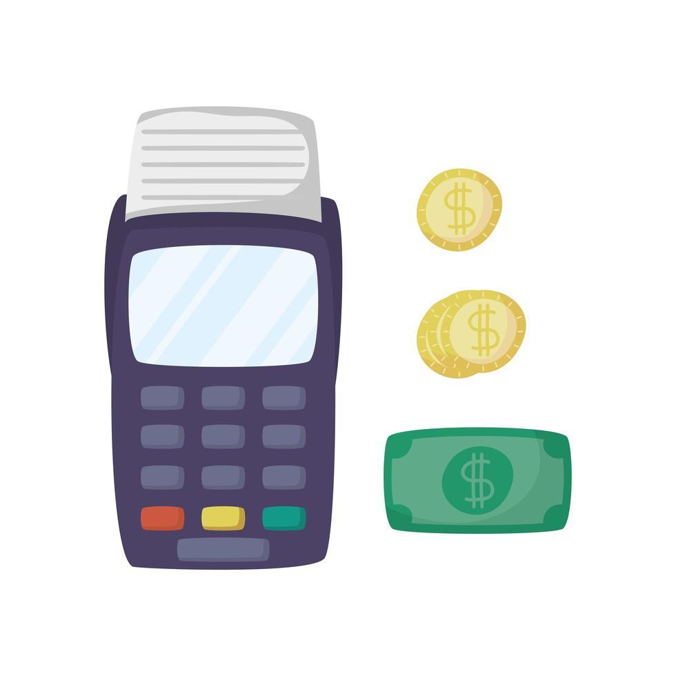 Gutscheinautomat mit Rechnungen und Münzen Dollar E-Commerce vektor