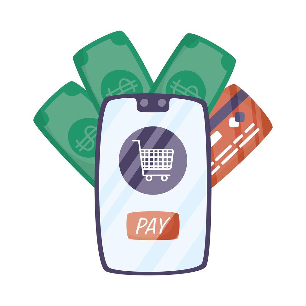 Smartphone mit Warenkorb und Kreditkarte vektor