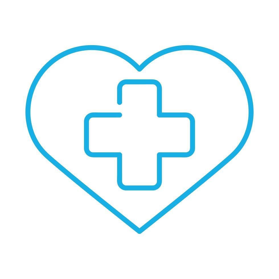 kors medicinsk symbol i hjärtat vektor