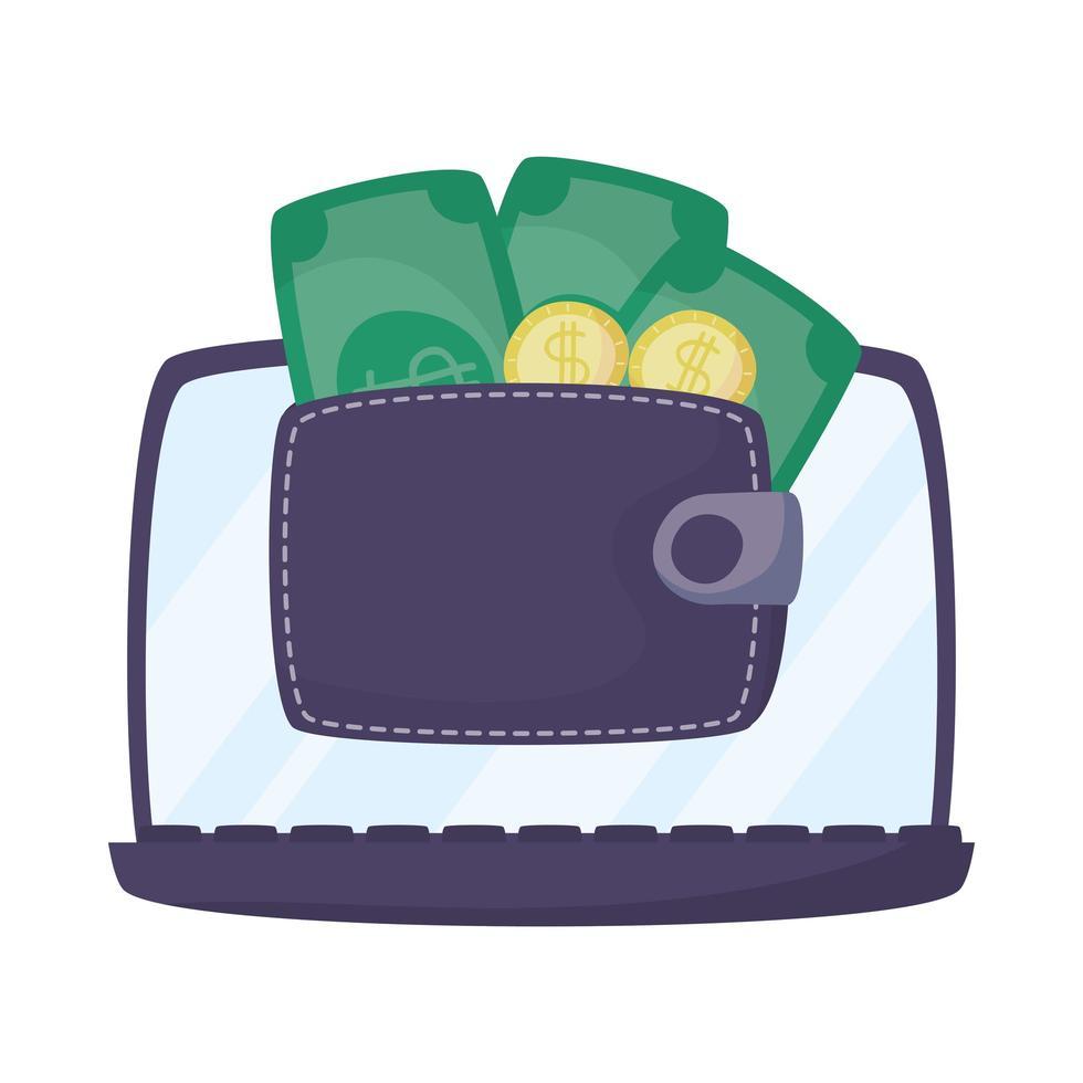 Laptop mit Brieftasche und Geld vektor