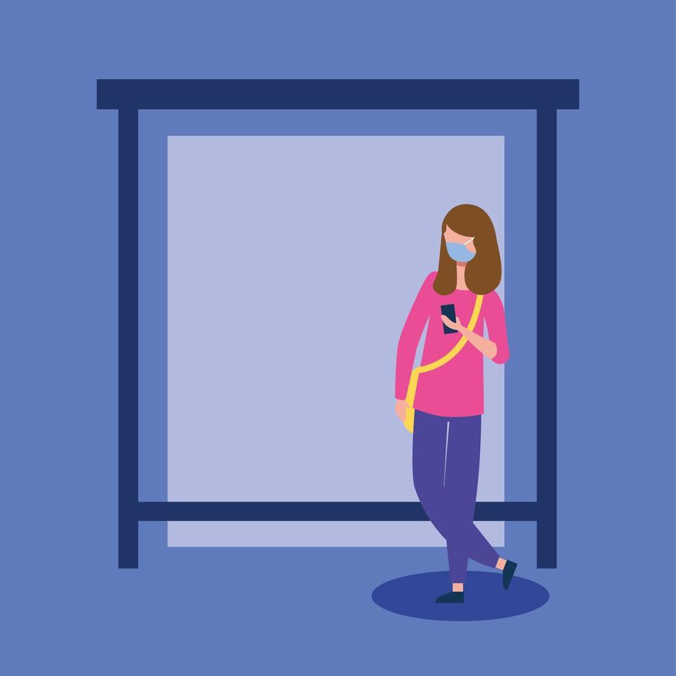 Frau mit medizinischer Maske und Smartphone am Busbahnhofvektorentwurf vektor