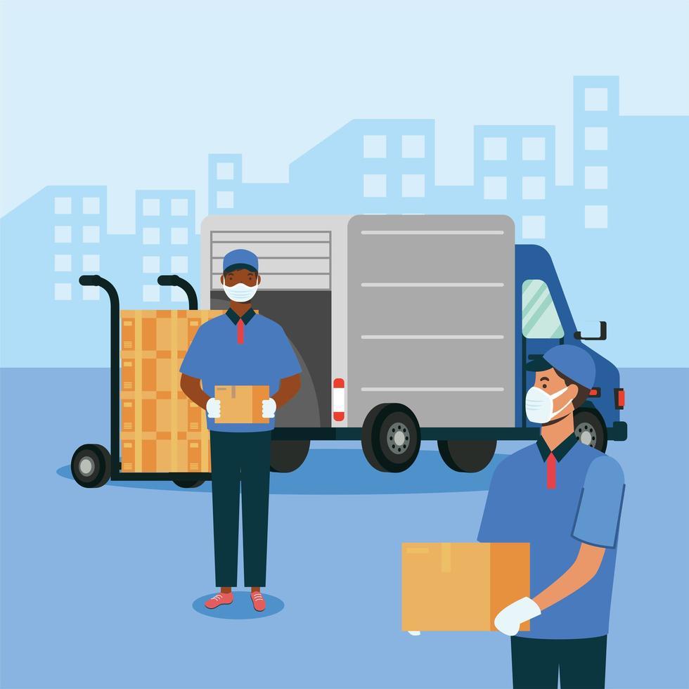 LKW-Frau und Mann mit Masken und Kisten auf Wagenvektorentwurf vektor