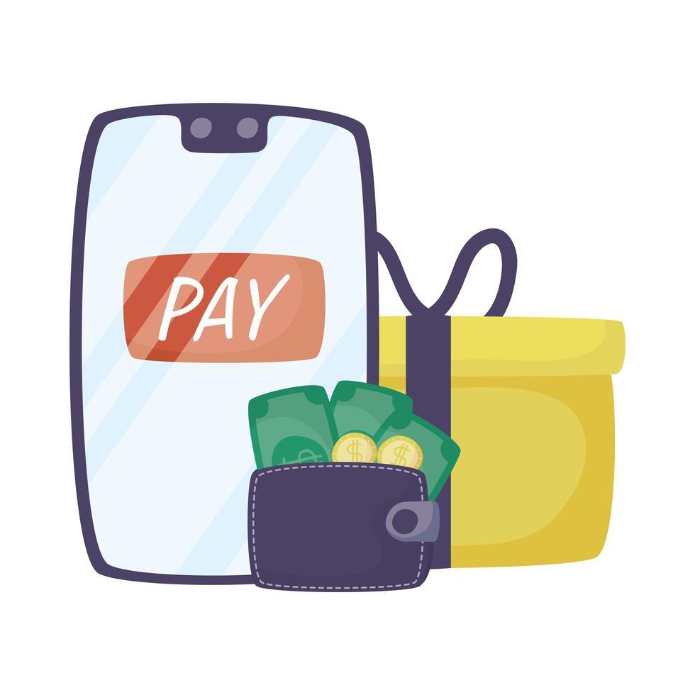 smartphone med plånbokspengar och gåva vektor