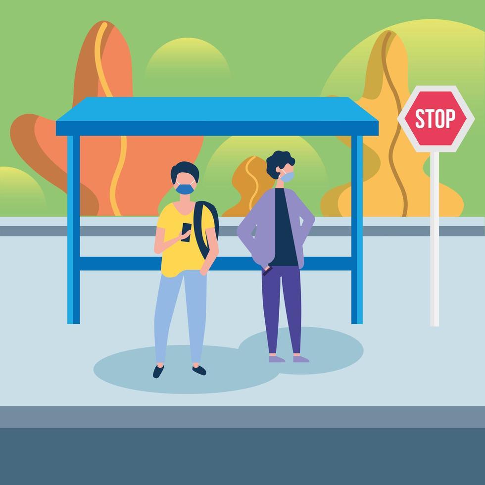 män med masker vid busshållplatsvektordesign vektor