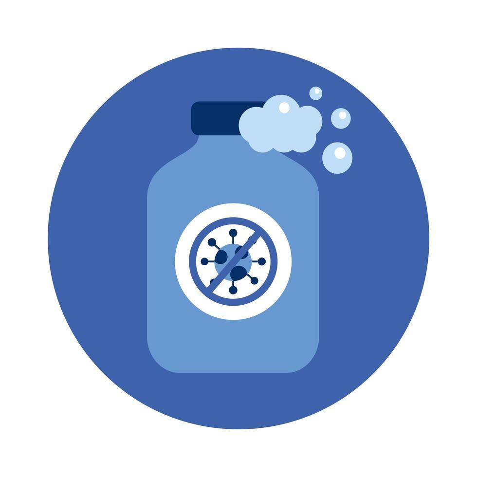 covid 19 virusförbud mot händer sanitizer flaska vektor design