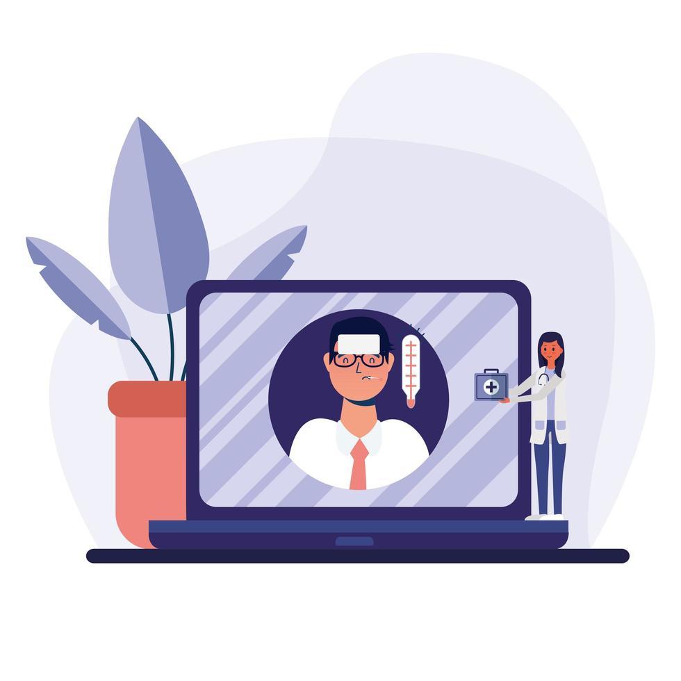 Online-Ärztin und Mann Client mit Fieber auf Laptop-Vektor-Design vektor