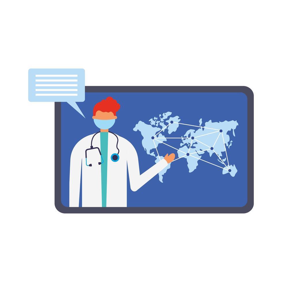 online manlig läkare med mask på tablett med kartavektordesign vektor