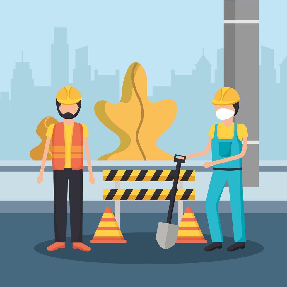 Baumeister Männer mit Maske und Barriere Vektor Design