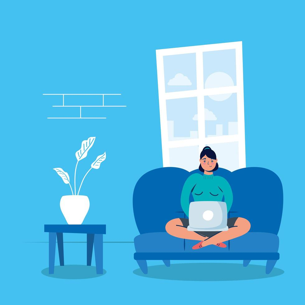 Frau mit Laptop im Sofa bleiben zu Hause Kampagne vektor