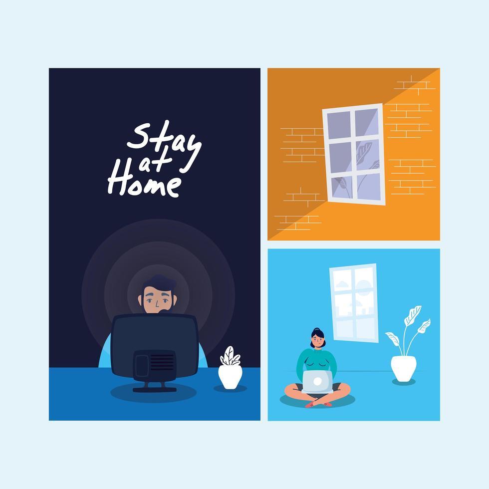 stanna hemma kampanj som scener vektor