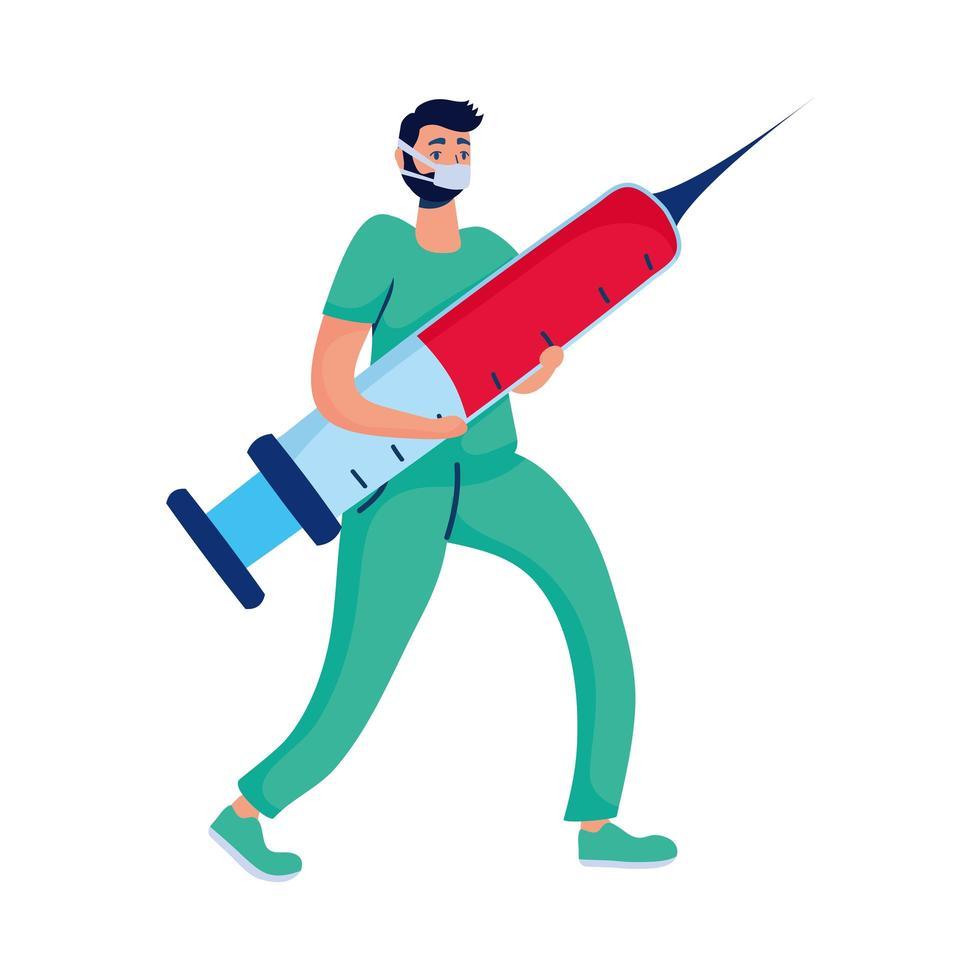 manlig läkare med injektionskaraktär vektor