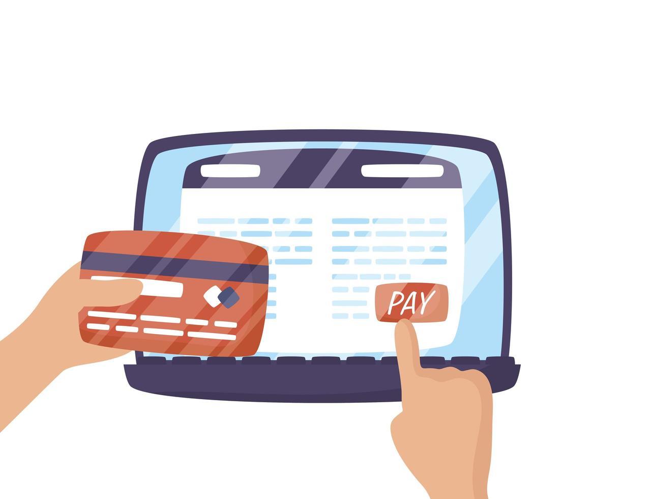 bärbar dator med användare och kreditkort vektor