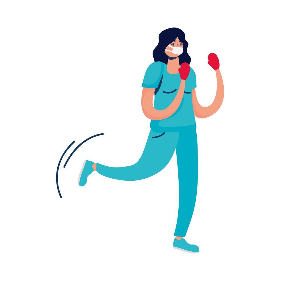 professionell kvinnlig läkare boxning med handskar vektor