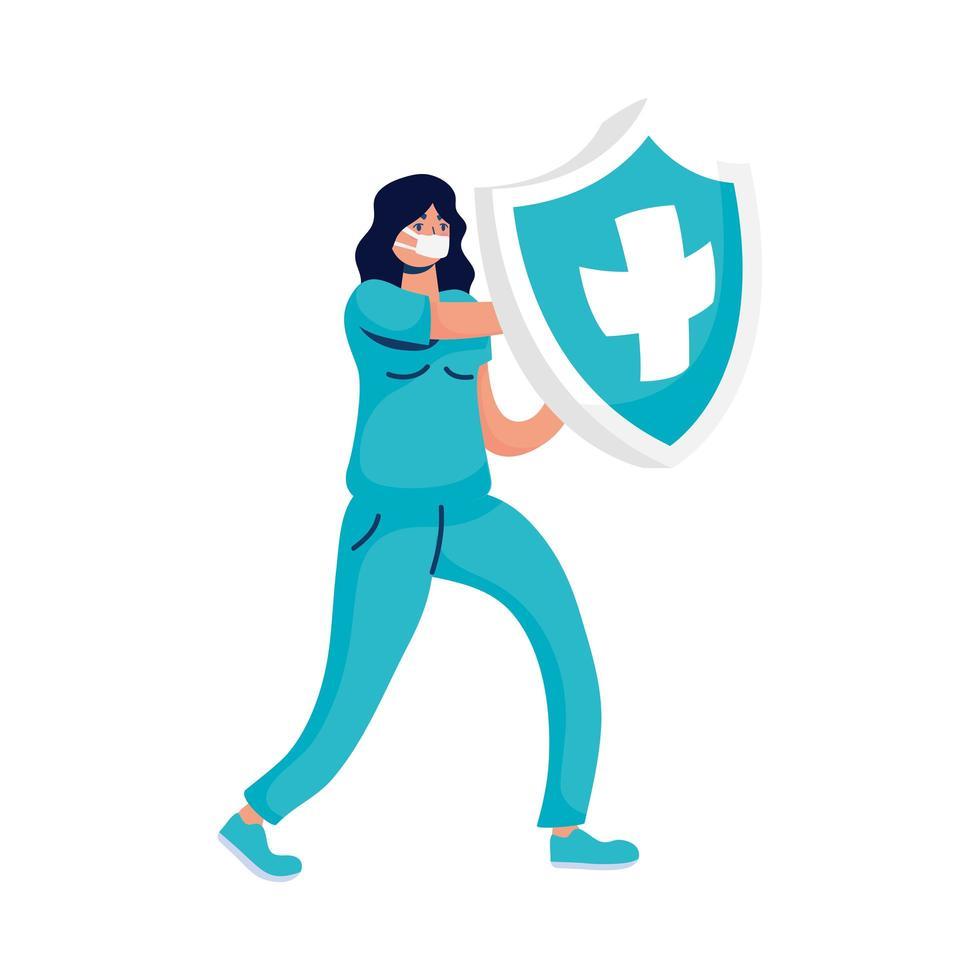 kvinnlig läkare med sköldförsäkring vektor
