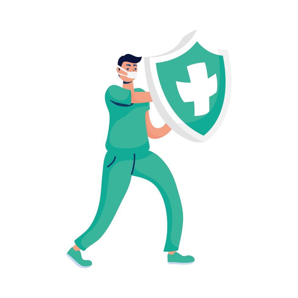manlig läkare med sköldförsäkring vektor