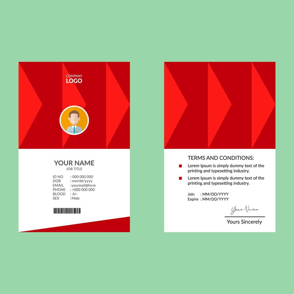 röd elegant id-kort formgivningsmall vektor