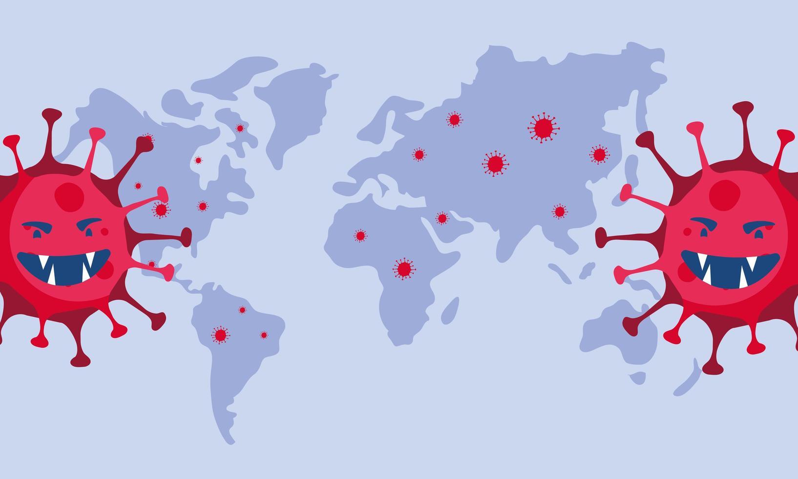 covid19 pandemipartiklar och jordplanet vektor