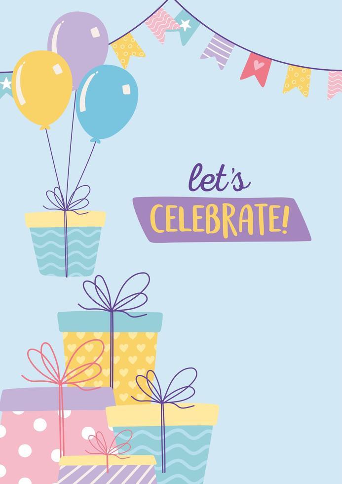 Alles Gute zum Geburtstag, viele Geschenke mit Luftballons und Wimpel Feier Dekoration Cartoon vektor