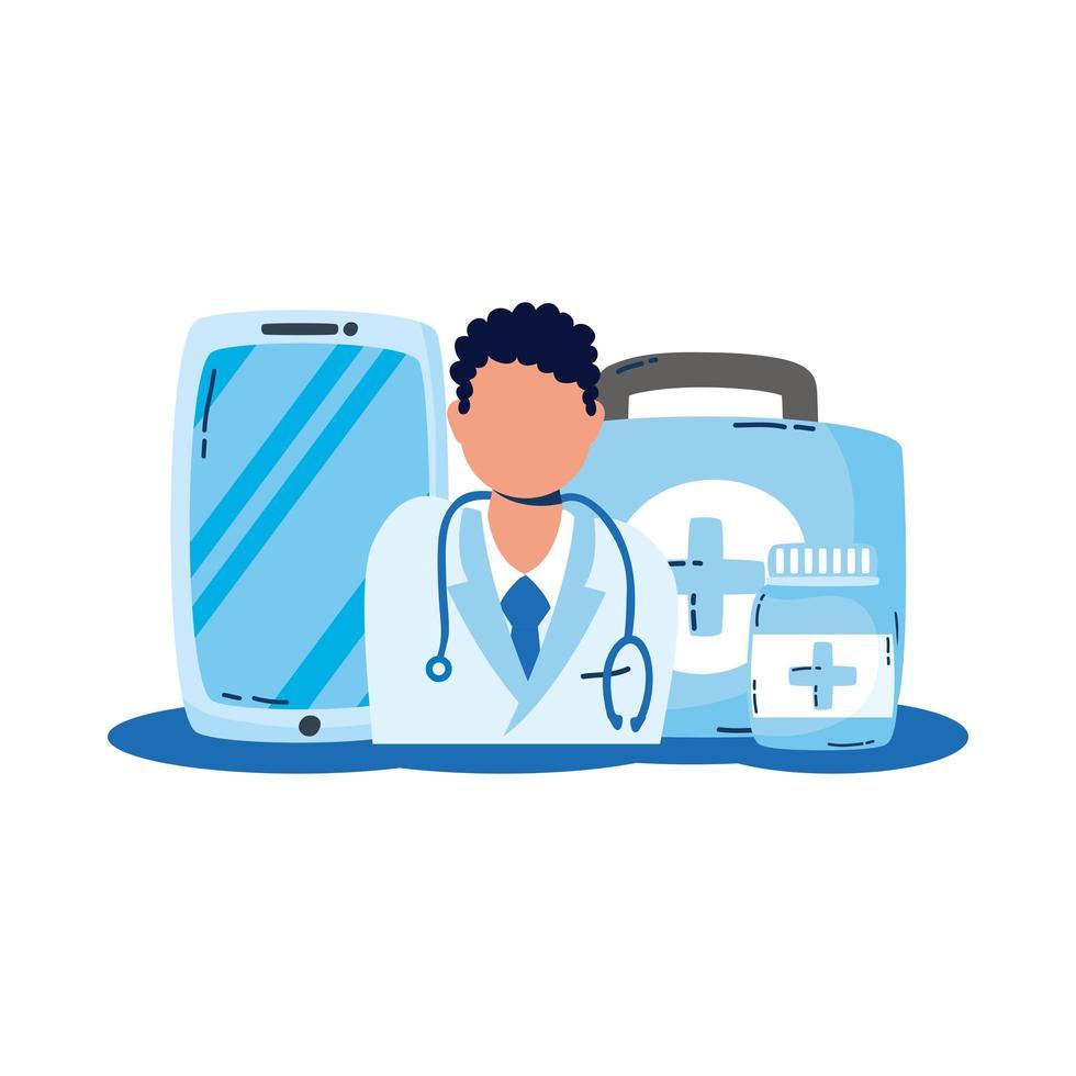 professioneller Arzt mit Smartphone-Telemedizin vektor